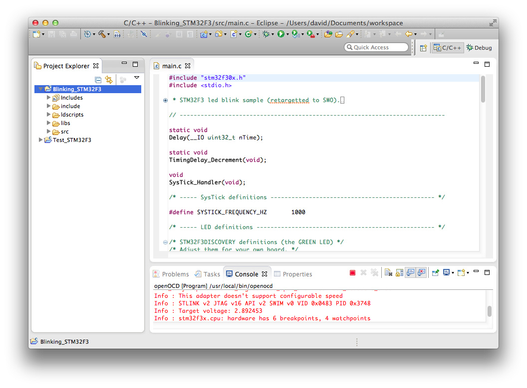 STM32F3DISCOVERY on Mac OS X using Eclipse, GCC ARM and
